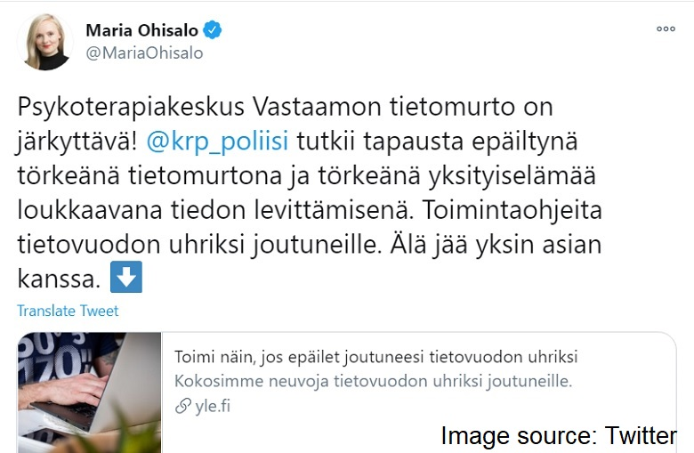 Finnish Interior Minister about the patient records hacking