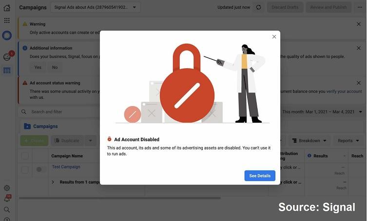 Facebook ad campaign blocked